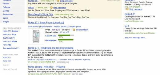 O cautare facuta pe Bing cu rezultate pentru americani