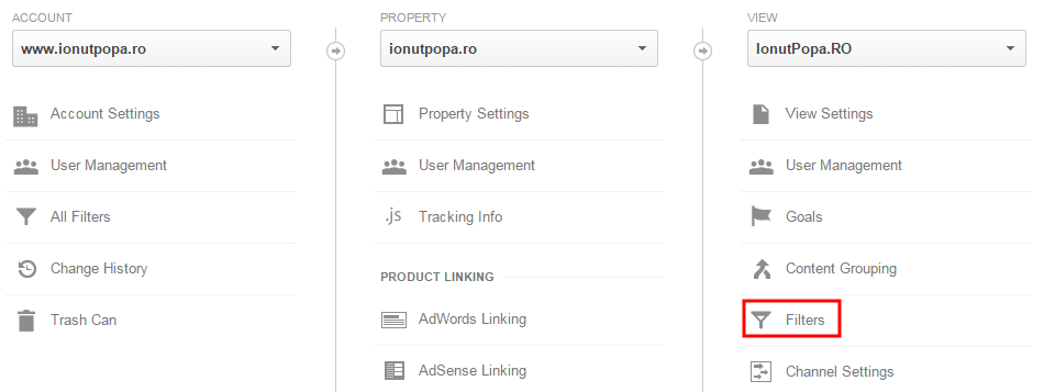 creare filtru nou excludere trafic google analytics - pas 1