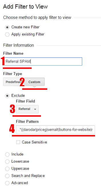creare filtru nou excludere trafic google analytics - pas 3