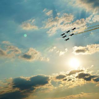 BIAS 2015 miting aviatic - Baltic Bees formatie deasupra soarelui