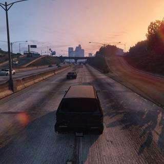 GTA 5 PC - Conducand pe autostrada la apus de soare