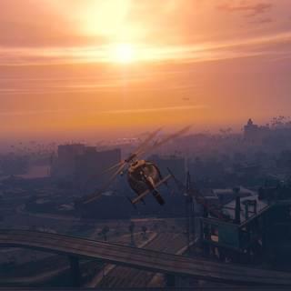 GTA 5 PC - Misiune cu elicopterul la apus