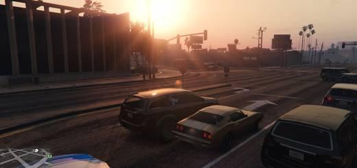 GTA 5 PC - Asteptand la semafor la apus de soare